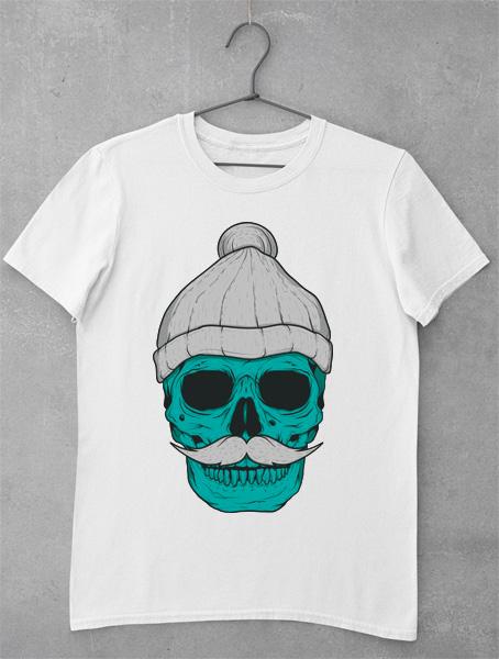 tricou mustache skull