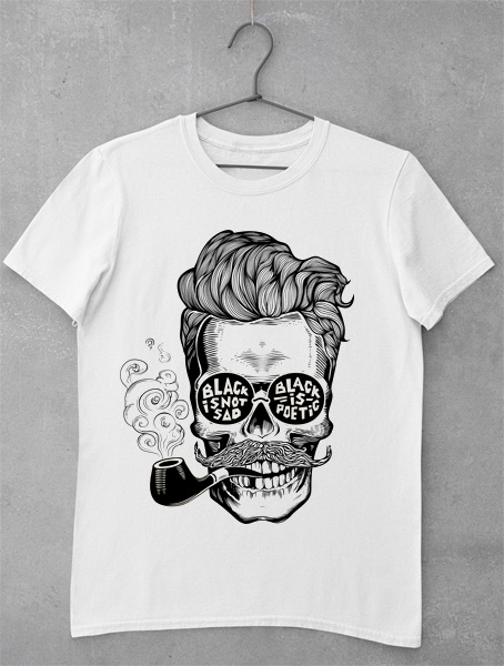 tricou skull black is not sad