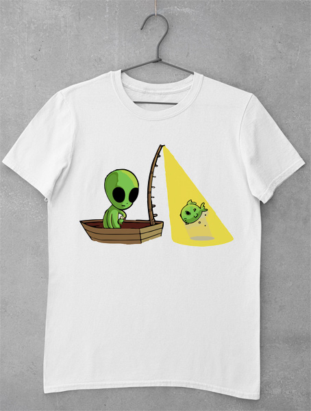 tricou alien fishing