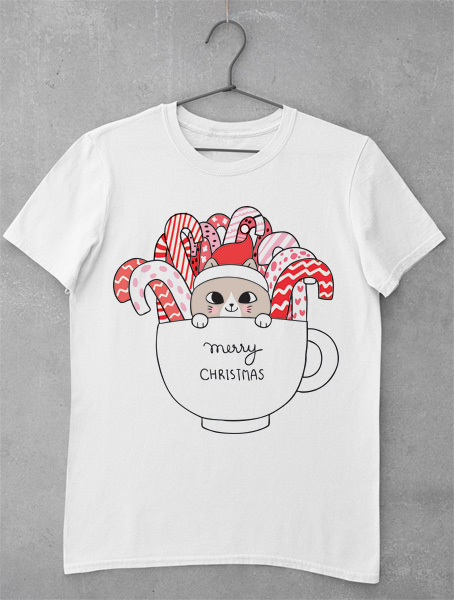 tricou cute cat christmas