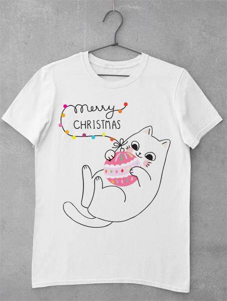 tricou cute christmas cat