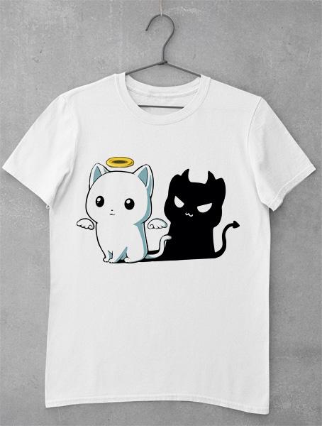 tricou pisica alba neagra