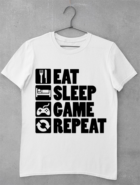 tricou gaming eat sleep game