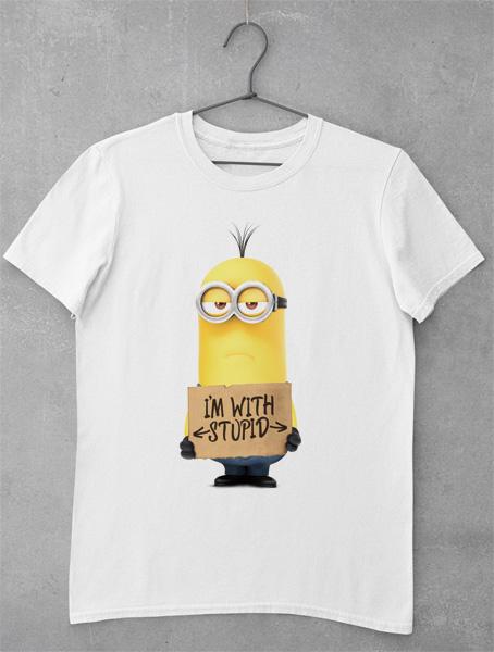 Tricou Minion Im With Stupid
